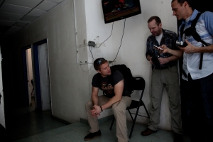 Chet Thomas (right), Darrin Fletcher (middle), and Tim Ballard (left) at Haitian Child Protection Brigade office prior to jump. 2014.